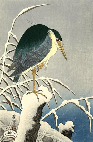 PDXC19745 -- Japanese Bird and Snow Woodblock