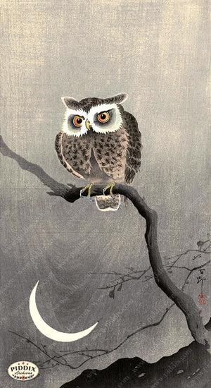 PDXC19756 -- Japanese Owl and Moon Woodblock
