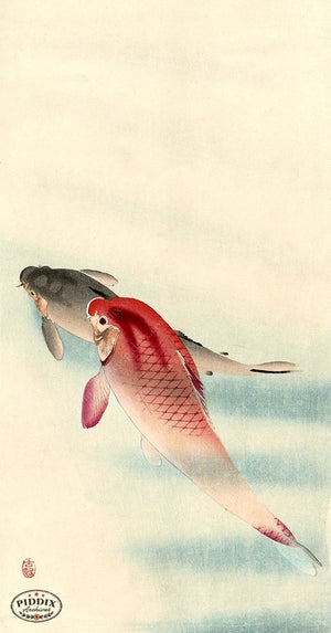 PDXC19758 -- Japanese Koi Fish Woodblock