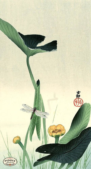 PDXC19759 -- Japanese Dragonfly and Plants Woodblock