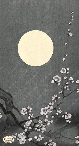 PDXC19762 -- Japanese Moon and Flowers Woodblock