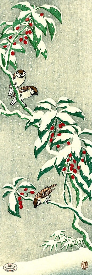 PDXC19763-- Japanese Birds and Snow Woodblock