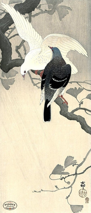 PDXC19765 -- Japanese Birds and Branch Woodblock