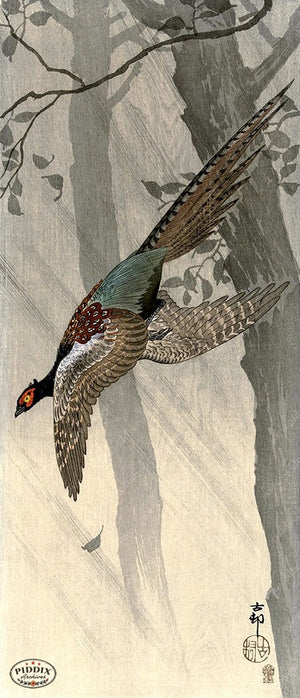 PDXC19767 -- Japanese Pheasant and Trees Woodblock