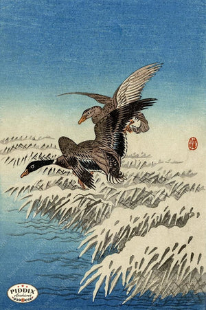 PDXC19769 -- Japanese Ducks and Snow Woodblock