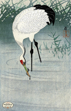 PDXC19770-- Japanese Crane in Water Woodblock