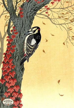 PDXC19771 -- Japanese Bird and Leaves Woodblock
