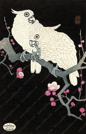 PDXC19772 -- Japanese Parrots and Flowers Woodblock