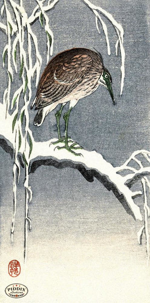 PDXC19774-- Japanese Bird in Snow Woodblock