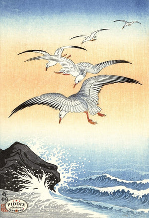 PDXC19775 -- Japanese Birds and Waves Woodblock