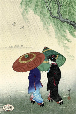 PDXC19777 -- Japanese Geishas in Rain Woodblock