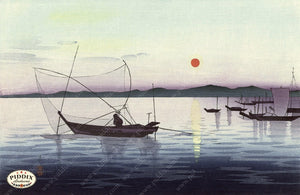 PDXC19778 -- Japanese Boats in Water Woodblock