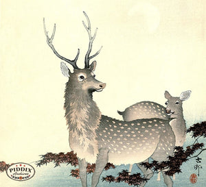 PDXC19784 -- Japanese Deer Woodblock