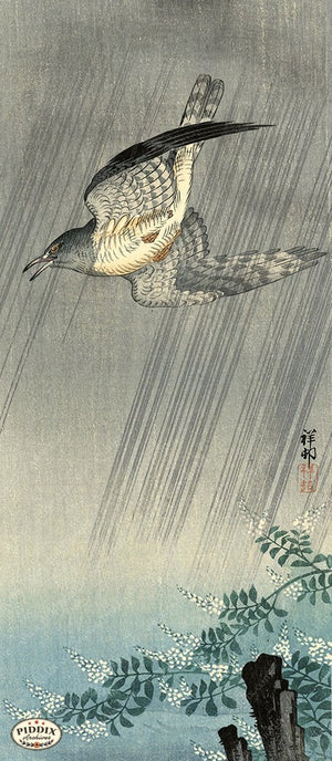 PDXC19785 -- Japanese Bird in Rain Woodblock