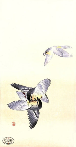 PDXC19786 -- Japanese Sparrows Flying Woodblock