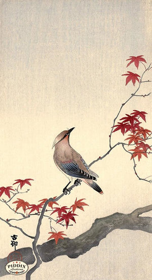 PDXC19787 -- Japanese Bird and Leaves Woodblock