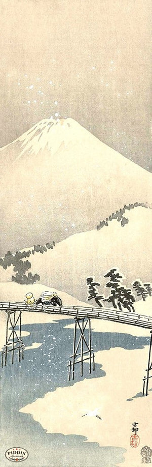 PDXC19789 -- Japanese Snowy Bridge and Mt. Fuji Woodblock