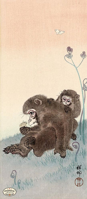 PDXC19794-- Japanese Monkeys and Butterflies Woodblock