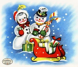 PDXC20130c -- Snowmen women Color Illustration