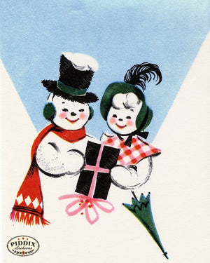 PDXC20139b -- Snowmen women Color Illustration