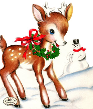 Pdxc3496 -- Christmas Deer Color Illustration