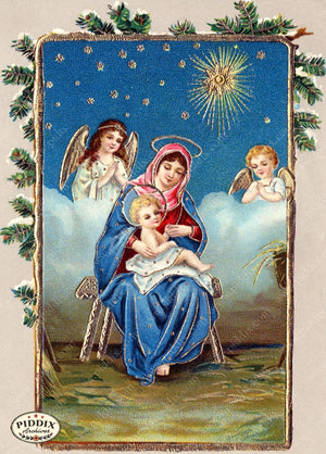 Pdxc4560 -- Christmas Manger Wise Men Virgin Mary Color Illustration