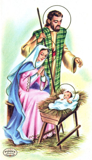 Pdxc4606 -- Christmas Manger Wise Men Virgin Mary Color Illustration