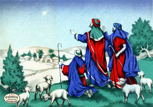 Pdxc4648A -- Christmas Manger Wise Men Virgin Mary Color Illustration