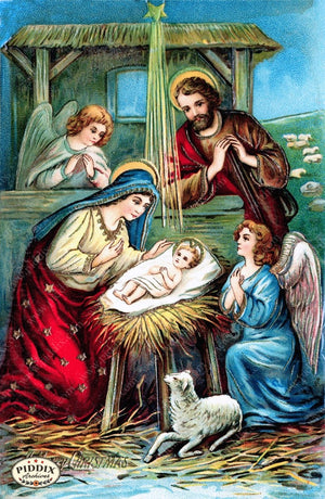 Pdxc6093 -- Christmas Manger Wise Men Virgin Mary Color Illustration