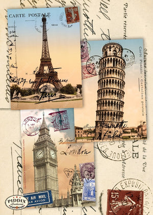 Pdxc7257B -- Travel Postcards Original Collage