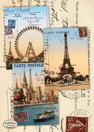 Pdxc7257C -- Travel Postcards Original Collage