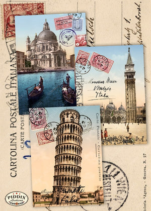 Pdxc7257E -- Travel Postcards Original Collage