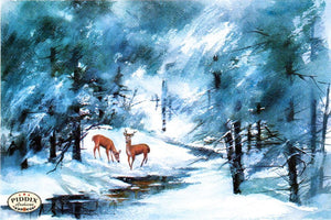 Pdxc9726 -- Christmas Deer Color Illustration
