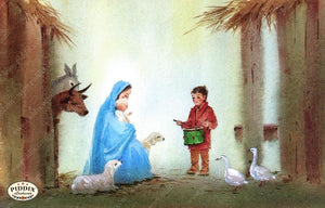 Pdxc9727 -- Christmas Manger Wise Men Virgin Mary Color Illustration