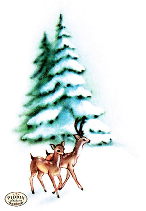 Pdxc9758B -- Christmas Deer Color Illustration