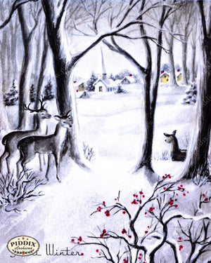 Pdxc9759A -- Christmas Deer Color Illustration