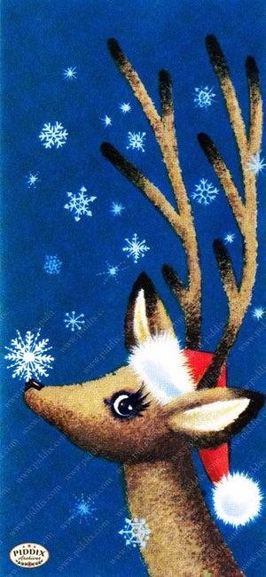 Pdxc9766A -- Christmas Deer Color Illustration