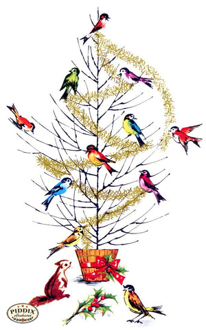 Pdxc9780 -- Christmas Birds Color Illustration