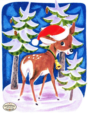 Pdxc9800 -- Christmas Deer Color Illustration