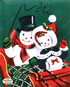 Pdxc9810A -- Snowmen Women Color Illustration