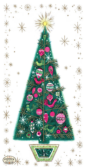 Pdxc9817 A & B -- Christmas Trees Color Illustration