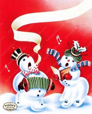 Pdxc9834A -- Snowmen Women Color Illustration
