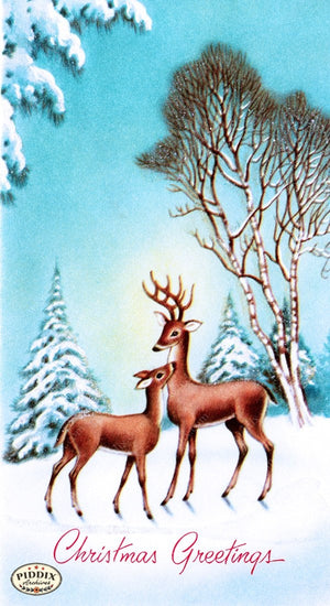 Pdxc9862A -- Christmas Deer Color Illustration