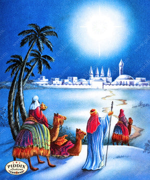 Pdxc9927 -- Christmas Manger Wise Men Virgin Mary Color Illustration