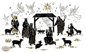 Pdxc9936 -- Christmas Manger Wise Men Virgin Mary Color Illustration