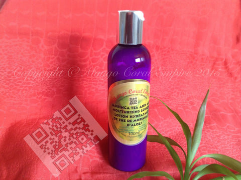 Moringa Tea and Aloe Moisturizing Lotion - for body/face - Mango Coral Empire Handcrafted natural skincare, natural perfume, natural deodorant, hair and shaving products