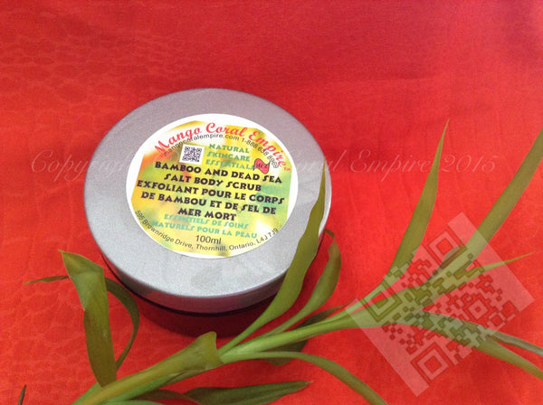 Bamboo and Dead Sea Salt Body Polish - for body - Mango Coral Empire Handcrafted natural skincare, natural perfume, natural deodorant, hair and shaving products