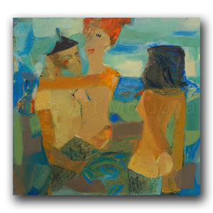 Original painting entitled Naked on the Beach by Moldovan artist Victoria Cozmolici