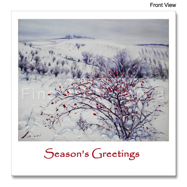 Front view of the Christmas Card featuring Robert Ixari's painting Frost