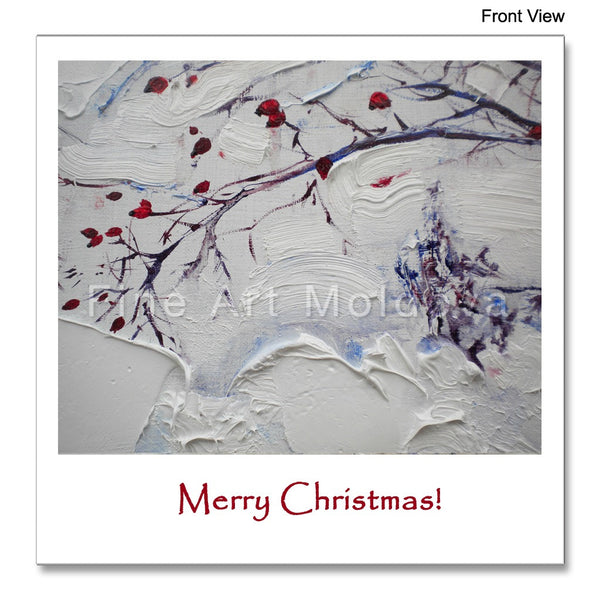 Front view of the Christmas Card featuring Robert Ixari's painting Frost detail